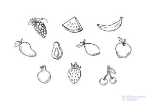 canasta de frutas dibujo