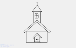 como dibujar una iglesia para niños