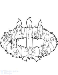 corona de adviento para dibujar