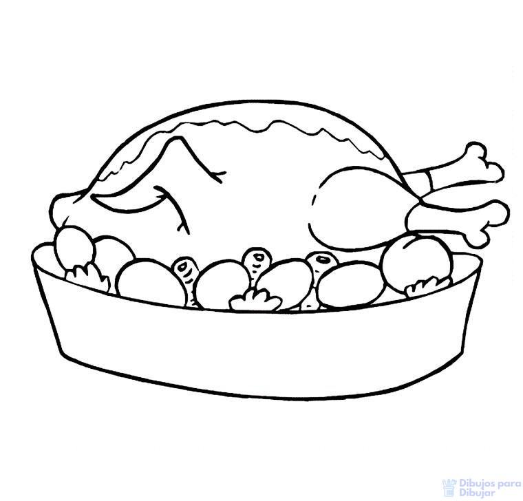 dibujo de pollo asado