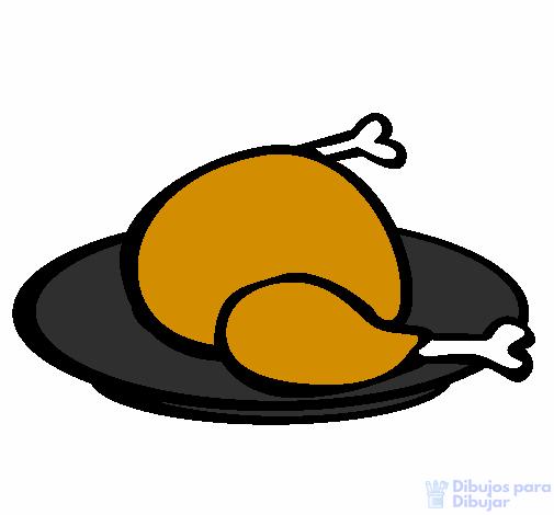 dibujo de pollo frito