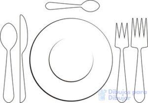 dibujo plato y cubiertos