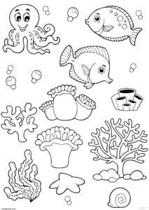 dibujos de mariscos y pescados