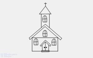 iglesia animada para colorear