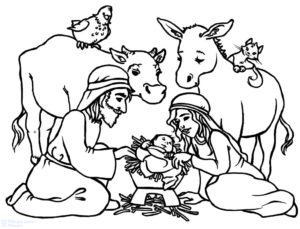 pesebre de navidad dibujo