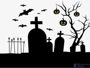 cementerio para colorear